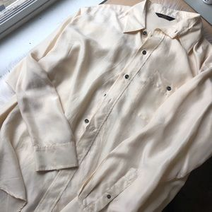 Marks & spencer vintage 90s 100 % silk cream shirt